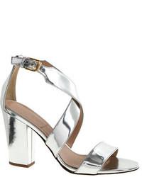 Sandali con tacco in pelle argento