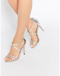 Sandali con tacco in pelle argento di Aldo