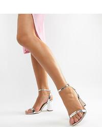 Sandali con tacco in pelle argento di ASOS DESIGN