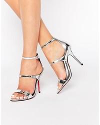 Sandali con tacco in pelle argento di Carvela