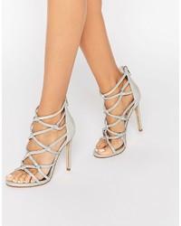 Sandali con tacco in pelle argento di Dune