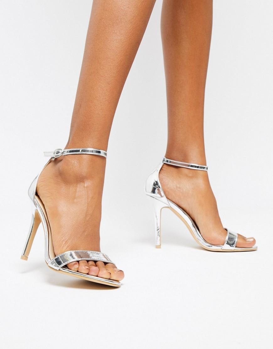 Sandali con tacco in pelle argento di Glamorous