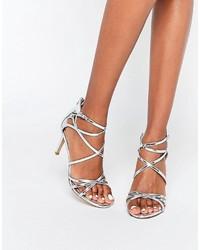 Sandali con tacco in pelle argento di Head Over Heels