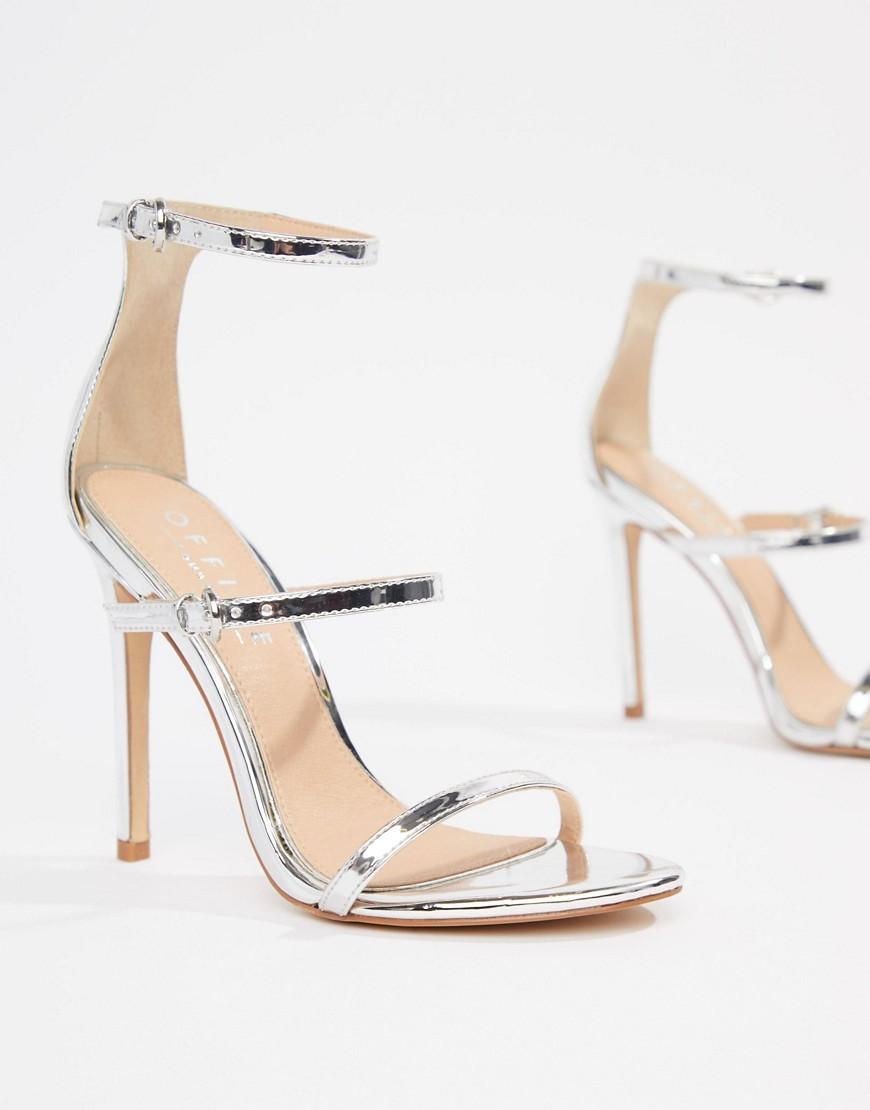 Sandali con tacco in pelle argento di Office