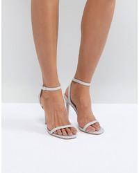 Sandali con tacco in pelle argento di Public Desire