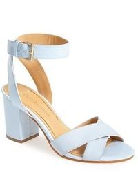 Sandali con tacco in pelle azzurri
