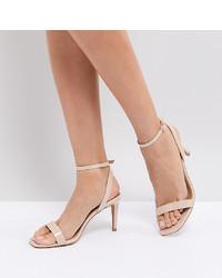 Sandali con tacco in pelle beige di ASOS DESIGN