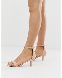 Sandali con tacco in pelle beige di Glamorous