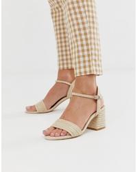 Sandali con tacco in pelle beige di Pull&Bear