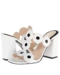 Sandali con tacco in pelle bianchi e neri