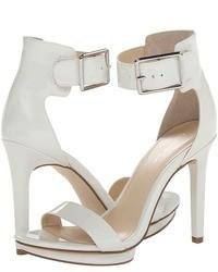 Sandali con tacco in pelle bianchi