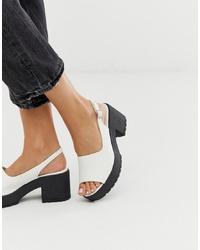 Sandali con tacco in pelle bianchi di ASOS DESIGN