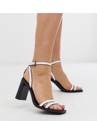 Sandali con tacco in pelle bianchi di Bershka