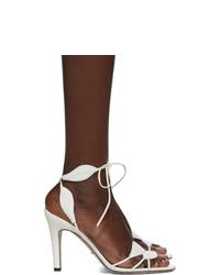 Sandali con tacco in pelle bianchi di Gucci