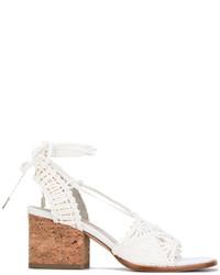 Sandali con tacco in pelle bianchi di Paloma Barceló