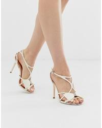 Sandali con tacco in pelle bianchi di Ted Baker