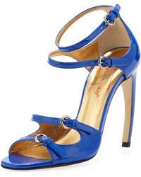Sandali con tacco in pelle blu