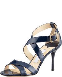 Sandali con tacco in pelle blu scuro