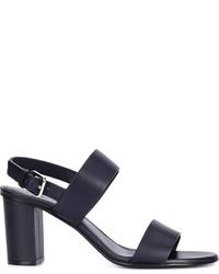 Sandali con tacco in pelle blu scuro di Jil Sander