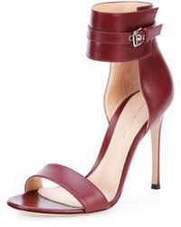 Sandali con tacco in pelle bordeaux