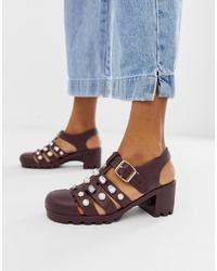 Sandali con tacco in pelle bordeaux di ASOS DESIGN