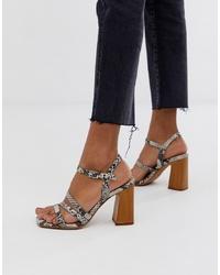 Sandali con tacco in pelle con stampa serpente grigi di ASOS DESIGN