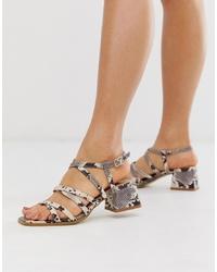 Sandali con tacco in pelle con stampa serpente grigi di RAID