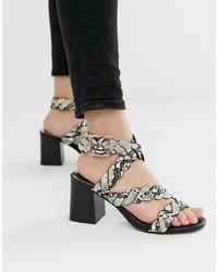 Sandali con tacco in pelle con stampa serpente grigi di River Island