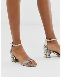 Sandali con tacco in pelle con stampa serpente grigi di Steve Madden