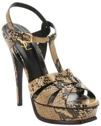 Sandali con tacco in pelle con stampa serpente marroni