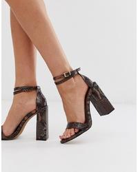 Sandali con tacco in pelle con stampa serpente marroni di ASOS DESIGN