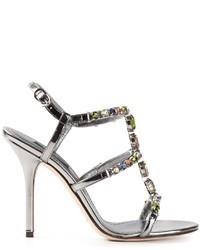 Sandali con tacco in pelle decorati argento di Dolce & Gabbana