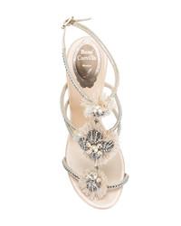 Sandali con tacco in pelle decorati beige di Rene Caovilla