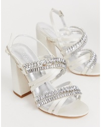 Sandali con tacco in pelle decorati bianchi di ASOS DESIGN