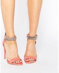 Sandali con tacco in pelle decorati rosa di Forever Unique