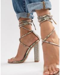 Sandali con tacco in pelle decorati trasparenti