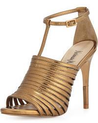 Sandali con tacco in pelle dorati