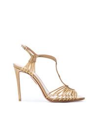 Sandali con tacco in pelle dorati di Aquazzura