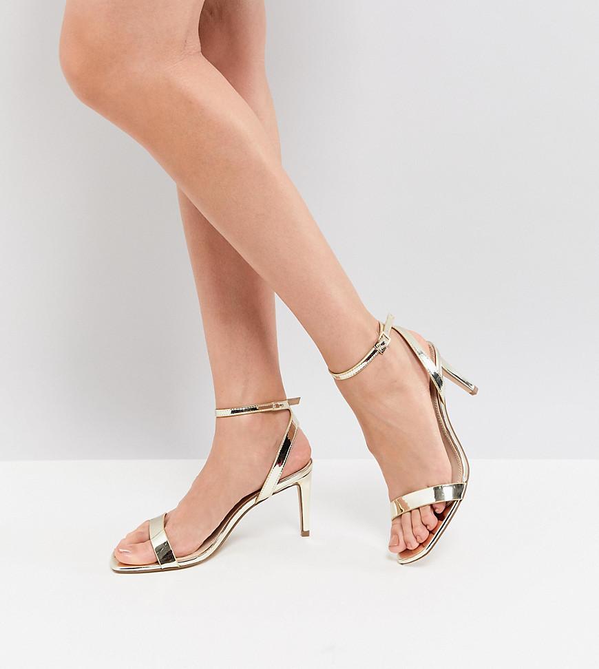 Sandali con tacco in pelle dorati di ASOS DESIGN
