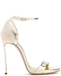 Sandali con tacco in pelle dorati di Casadei