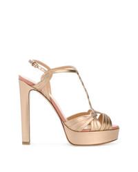 Sandali con tacco in pelle dorati di Francesco Russo