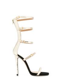 Sandali con tacco in pelle dorati di Marc Ellis