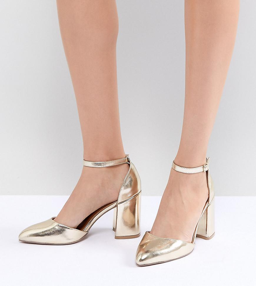 Sandali con tacco in pelle dorati di Qupid