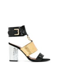 Sandali con tacco in pelle dorati di Via Roma 15