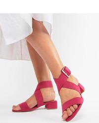 Sandali con tacco in pelle fucsia di ASOS DESIGN