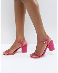 Sandali con tacco in pelle fucsia di Glamorous
