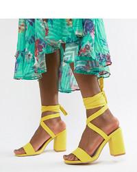 Sandali con tacco in pelle gialli di Park Lane