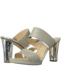 Sandali con tacco in pelle grigi