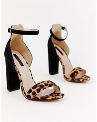 Sandali con tacco in pelle leopardati blu scuro di LOST INK