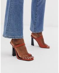 Sandali con tacco in pelle marroni di ASOS DESIGN